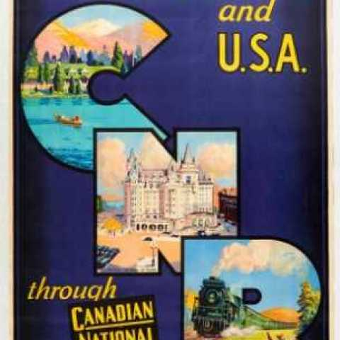 Canadian National Railways CNR AntikBar.co.uk Vintage Poster Auction 1 August