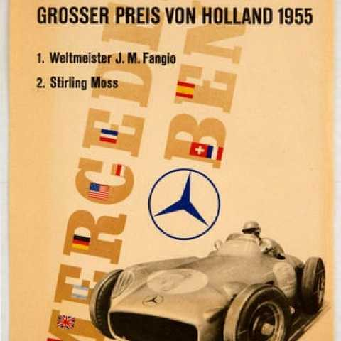 Mercedes Benz Grand Prix Fangio Stirling Moss AntikBar.co.uk Vintage Poster Auction 1 August