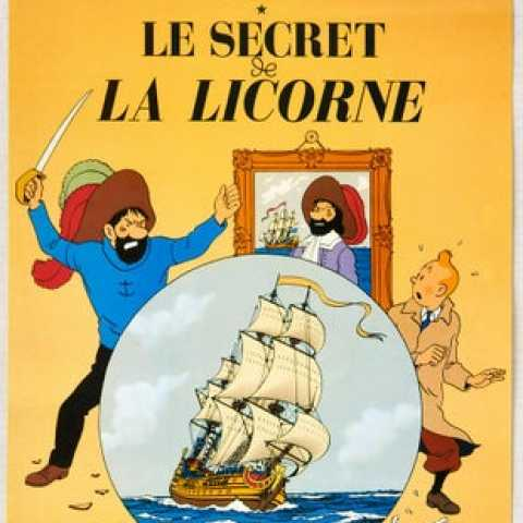 Tintin The Secret of the Unicorn Herge AntikBar.co.uk Vintage Poster Auction 1 August