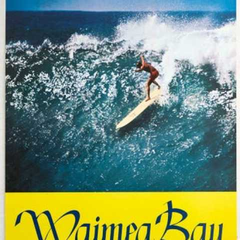Waimea Bay Surfing Hawaii AntikBar.co.uk Vintage Poster Auction 1 August