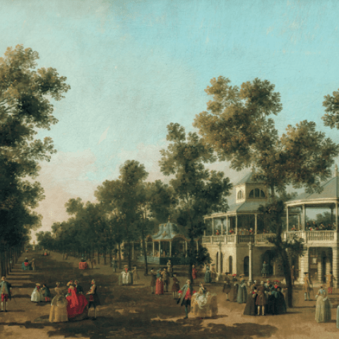 Canaletto, The Grand Walk, Vauxhall Gardens, c. 1751 © Compton Verney Art Gallery & Park. Photo: Prudence
